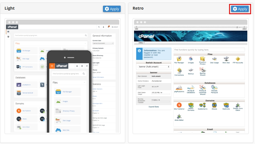 change style cpanel