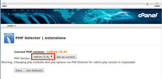 Select PHP Version - cPanel